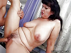 mature, hairy, blowjob, brunette,