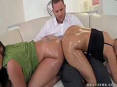Smoking hot milf get an oiled ass fucked