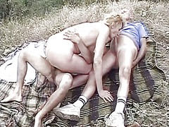 gangbang, blonde, outdoor
