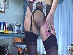 WinPorn Movie:Striking blonde in sexy stocki...