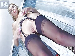 stocking, solo, blonde,