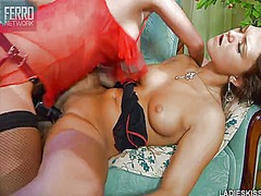 Thumb: Exciting brunette lesb...
