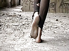 Barefoot dirty feet video