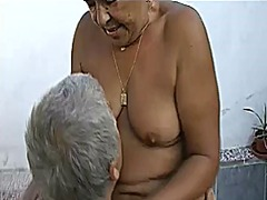 Grandpa and guy fucking chubby grandm...