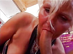 stocking, blonde, granny, blowjob