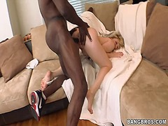 Naughy blonde babe will get fucked in hardcore interracial sex by bbc