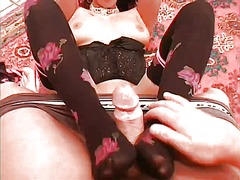 mature, masturbation, stocking