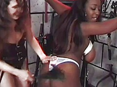 Juicy black amateur gets her tits punished in a deep dungeon