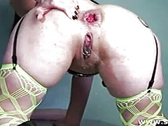 fishnet, tattoo, vaginal, massive, dildo, big, monster, insertion, huge, penetration, brutal, toys, giant