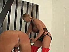 Man tied, a huge strapon video