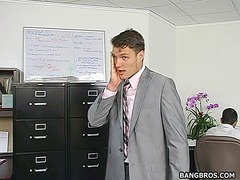 Beautiful blonde slut getting fucked hard by her boss