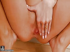 Aletta ocean with big boobs gets naked and plays with her slit