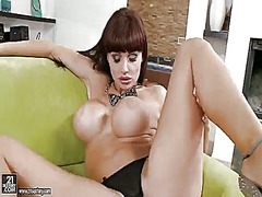 Alluring sweetheart aletta ocean with round enhanced tits exposes her pussy gape and gets ready to drill it