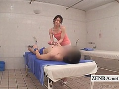 Subtitled cfnm japanese sauna bizarre penis cleaning