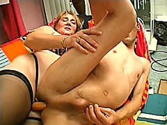 blonde, lingerie, strapon, blowjob,