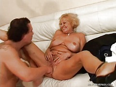 granny, blonde, big boobs, blowjob