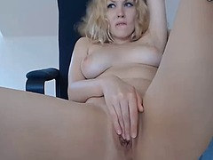 Thumb: Busty blonde closeup f...