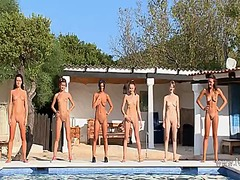 See: Six naked girls by the...
