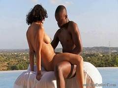 Exotic ebony outdoor love