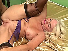 Blonde granny gets her arse pounded b...