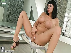Aletta ocean with giant hooters does striptease before she sticks toys in her vagina
