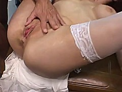 Big tit nurse gets gan...