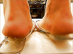 Mature feet crushing cock and cum