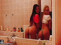 Some hot girls with aleska diamond and aletta ocean are bored and horny at home