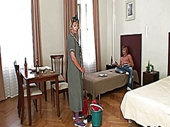 Cleaning woman rides h...