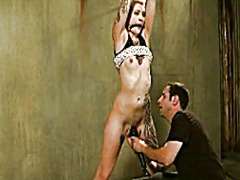 Kinky girl tied and vibed video