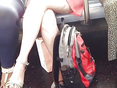 Crossing legs and upskirt