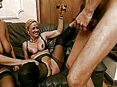 Big tit granny andrea shares cock with friend