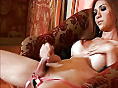 Very beautiful shemale masturbating and cumming