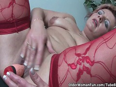 Mature mom in kinky outfit rubs her c...