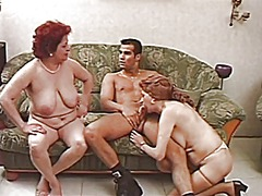 threesome, granny, mature, hairy,