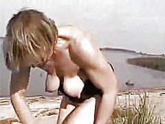 tits, beach, milk, mature