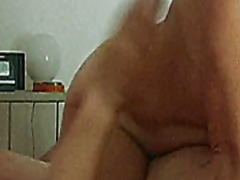 Mature gf on cock oiling her big sagg...