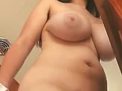 Exposed Breasty Beauty Kitchen Cleaning