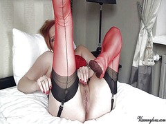 Xhamster Movie:Red ff nylons footjob & cum ov...