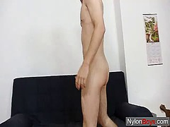 See: Thin twink strokes his...