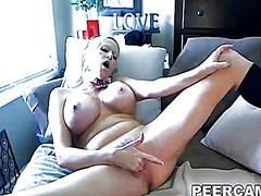 Thumb: Busty blonde babe fing...
