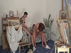 Granny pleases two young painters