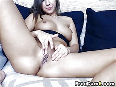 Babe loves to finger and dildo her pussy
