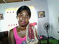 African girl take of the dress at cam part 1