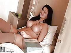 Aletta ocean with gigantic melons strips naked and fucks herself with her fingers