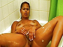 Girl plays in shower video