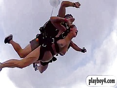 Badass big boobs babes skydiving naked