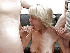 mature, granny, threesome, facial