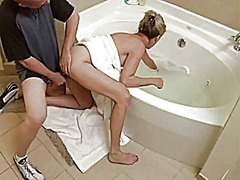milf, cuckold, shower, blonde,