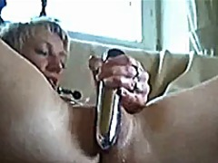 Blond girl plays on we...